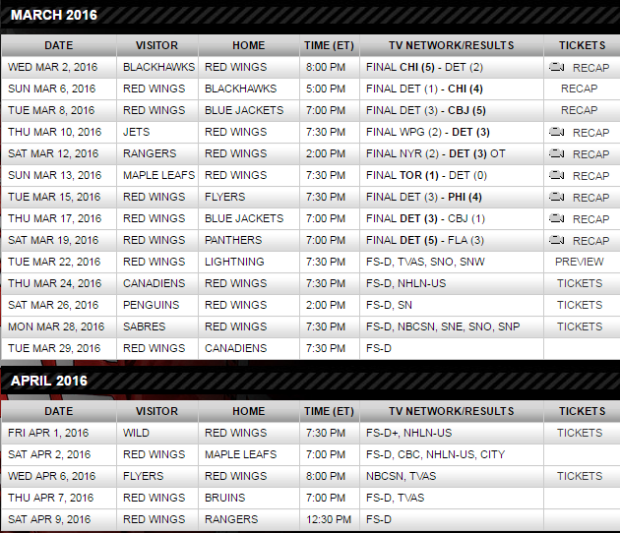 red wings schedule photoshop